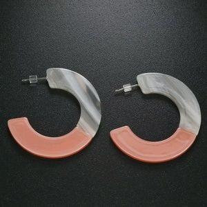 Pink & Marble Half-hoop Earrings